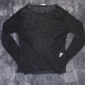 Black long sleeve lettuce sheared shirt